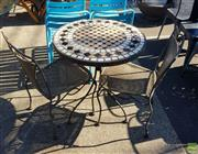 Sale 8566 - Lot 1431 - Metal Three Piece Outdoor Setting incl. Mosaic Tile Top Table & Two Wicker Chairs