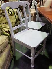 Sale 8629 - Lot 1042 - Set of Six White Painted Dining Chairs with Metal Backs