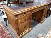 Sale 8740 - Lot 1072 - Pine Twin Pedestal Desk with Five Drawers & Single Door