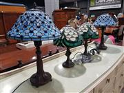 Sale 8760 - Lot 1074 - Pair of Leadlight Shade Table Lamps & Another Smaller Pair (4)