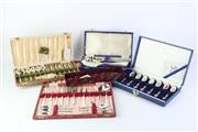 Sale 8783 - Lot 146 - Australian Wildflower Spoon Collection Together with Other Boxed Plated Cutlery inc Whitehill and Yeoman