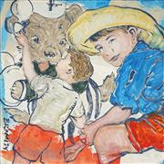 Sale 8916 - Lot 533 - David Bromley (1960 - ) - Children with Bear 76 x 76 cm