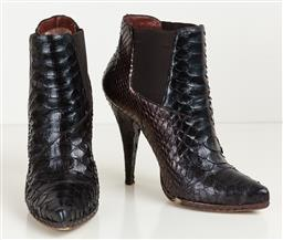 Sale 9120K - Lot 42 - A pair of Francesco Sacco Crocodile pattern ankle boots; in original box and with dust bags, size 39, RRP $1680, well worn