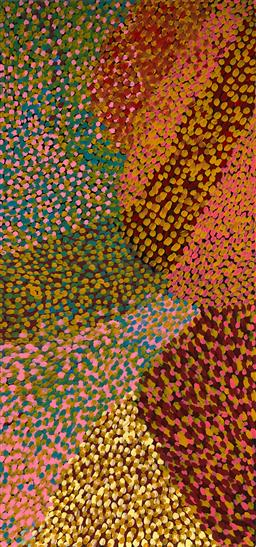 Sale 9148A - Lot 5047 - GLORIA PETYARRE (1942 - ) Wild Flowers, 1995 synthetic polymer paint on canvas 178 x 84 cm (stretched and ready to hang) certificate...