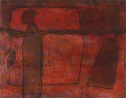 Sale 9170A - Lot 5007 - GUY WARREN (1921 - ) Red Garden colour etching ed. 11/25 20 x 25 cm (frame: 55 x 57 x 3 cm) signed lower right