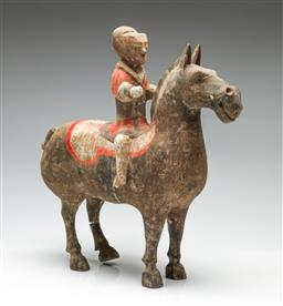Sale 9190 - Lot 61 - A Chinese potted figure of an equestrian - broken/repaired hind leg of horse and right foot of man broken (H:33cm)