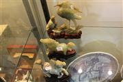 Sale 7977 - Lot 54 - Onyx Figures of Animals on Timber Stands