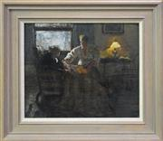 Sale 8107B - Lot 13 - Jean Sutherland, Interior study - The story teller, oil on canvas on board, 33.5 x 40.5cm