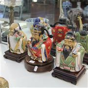 Sale 8236 - Lot 31 - Ceramic Chinese Figures on Stands (3)
