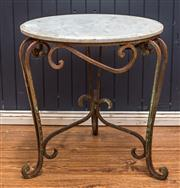 Sale 8287A - Lot 19 - A charming rustic wrought iron side table with circular white marble top. 56cm high x 56cm wide