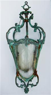 Sale 8362A - Lot 58 - A vintage well weathered bronze / brass lantern with etched glass panels, size 70 x 30 cm