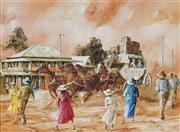 Sale 8907 - Lot 562 - John Guy (1944- 2000) - Late Arrival (Barcaldine,QLD, c1885), 1989 44 x 59.5 cm