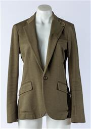 Sale 9003F - Lot 58 - A Polo Ralph Lauren Lined olive Green Waisted Blazer. Size 4