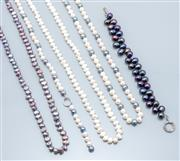 Sale 9037F - Lot 50 - THREE CULTURED FRESHWATER PEARL NECKLACES AND BRACELET; 2 keshi pearl necklaces in white and black colours, lengths 92cm, an 8.5mm o...