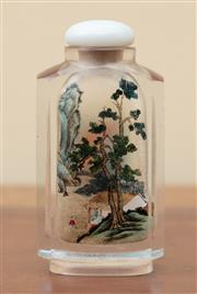 Sale 9055H - Lot 35 - A Chinese reverse-painted glass scent bottle with hard stone stopper painted with scenes of figures in landscapes to both sides. H:8cm