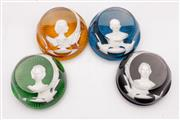 Sale 9064 - Lot 42 - Set of Four Baccarat Crystal Royal Family Cameo Paperweights (Dia7.5cm)