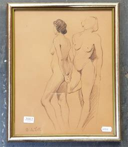 Sale 9127 - Lot 2002 - O. deLall Nude Studies pencil, frame: 34 x 28 cm, signed lower left.