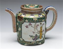 Sale 9156 - Lot 98 - A Japanese Meiji period ceramic teapot, elaborately hand painted and signed to lid, as inspected with repair H15cm L22cm,