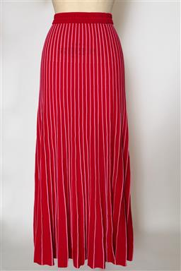 Sale 9095F - Lot 64 - A Sandro Paris elasticated long red and pink pleated skirt, size 2.