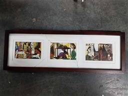 Sale 9176 - Lot 2080 - A Three Panel Frame With Picasso Prints (L:63cm H:22cm)