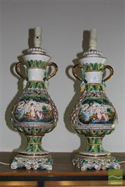 Sale 8226 - Lot 70 - Capodimonte Pair of Lamps