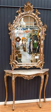 Sale 8287A - Lot 20 - A superb & ornate & Florentine mirror with unusual silver gilt finish. 140cm high x 80cm wide, (Please note the console in this imag...