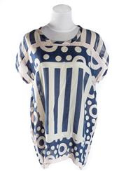 Sale 8493A - Lot 59 - A silk printed Dianne Von Furstenberg top in blue and cream, size M
