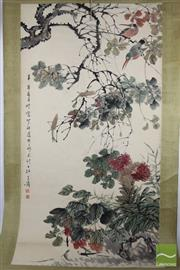 Sale 8508 - Lot 73 - Chinese Scroll Depicting Birds And Cricket