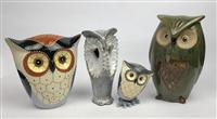 Sale 8725A - Lot 39 - A group of four decorative highly glazed owls , tallest 25cm