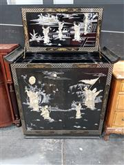 Sale 8745 - Lot 1004 - Oriental Lift Top Drinks Cabinet with Two Doors