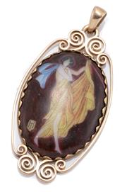 Sale 8965 - Lot 334 - AN EDWARDIAN GOLD PLAQUE PENDANT; scrolling 9ct frame set with on oval plaque with hand coloured figure of Diana with monogram, leng...