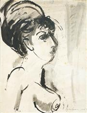 Sale 9067 - Lot 604 - Francis Lymburner (1916 -1972) - Untitled (Woman in Profile), 1963 54 x 42 cm (frame: 71 x 58 x 2 cm)
