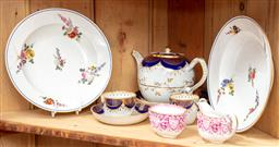 Sale 9120H - Lot 40 - A group of ceramics including a pair of Sevres style floral rimmed bowls (damage), a Copeland creamer and others.