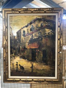Sale 9139 - Lot 2075 - A Retro Painting of a Street Scene (handcarved frame: )