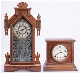 Sale 9185E - Lot 63 - An American mantle clock together with another timber mantle clock marked FS, Height 25cm