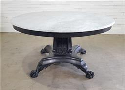 Sale 9196 - Lot 1066 - Good Mid-19th Century Style Ebonised Centre Table, with round white marble top, the square pedestal with fan shaped leaves & fluting...