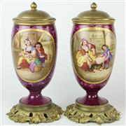 Sale 8399 - Lot 46 - Gilded Bronze Pair of Porcelain Continental Lidded Vases