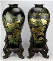 Sale 8096 - Lot 40 - Japanese Black Lacquer Pair of Vases