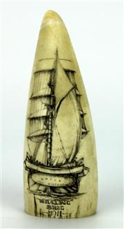 Sale 8130 - Lot 98 - Whale Tooth Scrimshaw Daisy