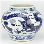 Sale 8244 - Lot 98 - Yuan Dynasty Style Blue & White Dragon Jar