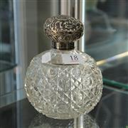 Sale 8300 - Lot 18 - English Hallmarked Sterling Silver Topped Crystal Perfume Bottle