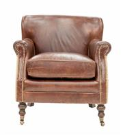 Sale 8342A - Lot 176 - A pair of two tone aged leather and farmhouse linen armchairs on castors, H 79 x W 71 x D 74cm