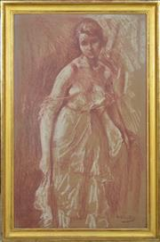 Sale 8394 - Lot 513 - Otto Vautier (1863 - 1919) - Untitled (Woman Standing) 74 x 46cm