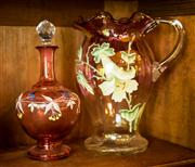 Sale 8418A - Lot 96 - A hand painted cranberry glass jug together with a cranberry glass decanter of diminutive size, H of jug 26cm