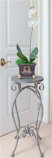 Sale 8562A - Lot 148 - A metal jardiniere stand together with a pair of petite jardinieres with faux phaleonopsis orchids, stand H 74cm