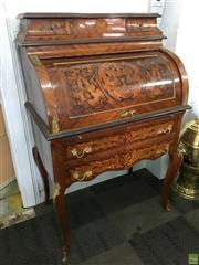Sale 8649R - Lot 121 - French Style Bureau with Superb Floral Inlay, Ormolu Mounts and Cabriole Legs (H: 127 W: 83 D: 52cm)