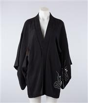 Sale 8760F - Lot 159 - A black Japanese kimono jacket, presumably silk