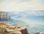Sale 8907 - Lot 579 - Artist Unknown (C19th) - Explorers at Govetts Leap Lookout 30 x 38 cm
