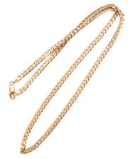 Sale 8965 - Lot 382 - A 9CT GOLD NECK CHAIN; 3.5mm wide filed curb links to parrot clasp, length 50cm, wt. 10.71g.