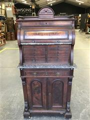 Sale 8993 - Lot 1084 - Early 20th Century German Walnut Cabinet, perhaps for the American market, with gallery top, burr veneer cylinder section with marbl...